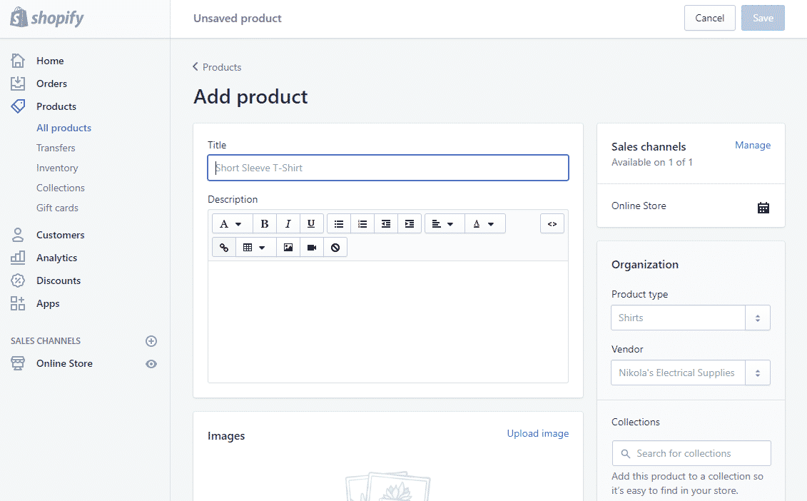 shopify product list